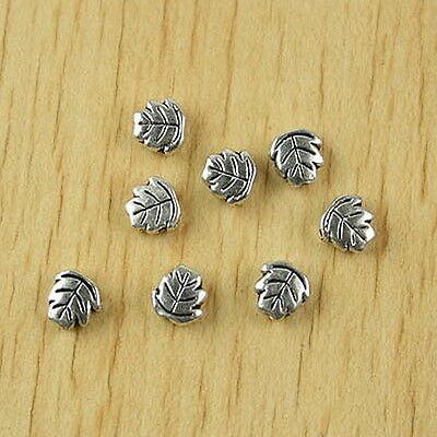50pcs Tibetan silver facet leaf spacer beads H2510