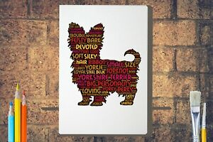 Yorkshire-Terrier-Word-Art-Canvas-A4A3A2A1-Mothers-Day-Gift-Personalised-Option