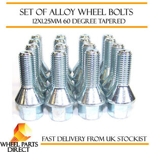 Alloy-Wheel-Bolts-16-12x1-25-Nuts-Tapered-for-Citroen-C2-04-09