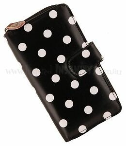 Rockabilly-50s-Retro-Large-BLACK-POLKA-DOT-Ladies-Wallet-Purse-Vintage-Pinup