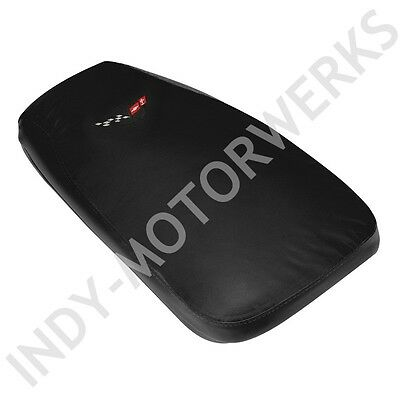 CUSTOM CUSHION CONSOLE PAD CORVETTE 97-04 LEATHER BLACK WITH EMBROIDERED EMBLEM