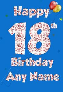 Image Is Loading Personalised Handmade Age 18 18th Birthday Greeting Card