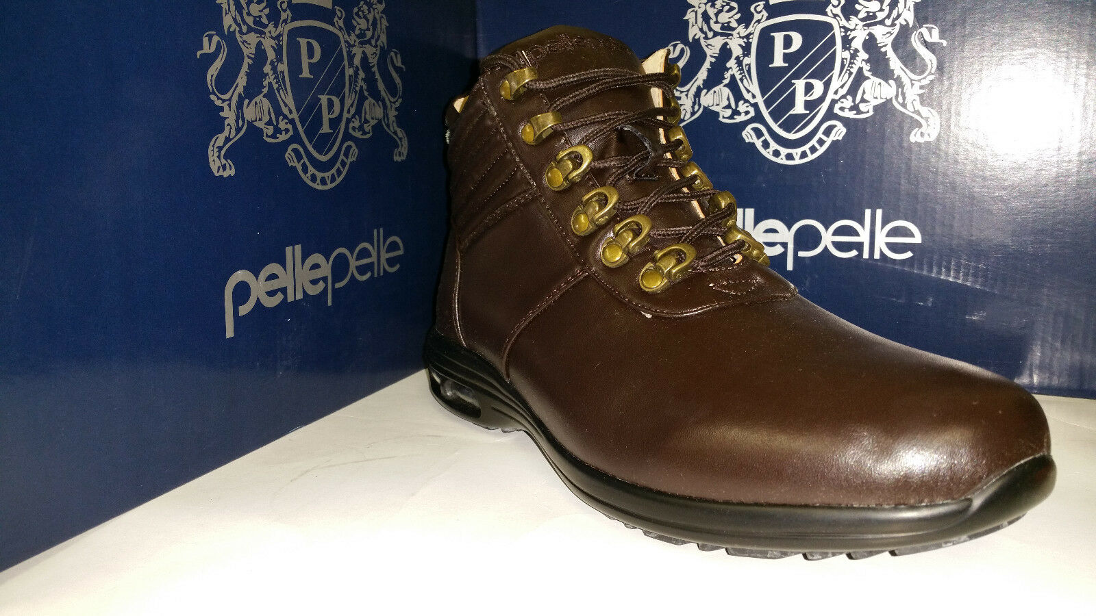 Pelle Pelle Men's Brown Leather Lace Up High Top Boots Size 7.5-12