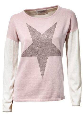 Heine immagine bel pullover FRONT motivo leggeri bio-cotone rosa//Off White neuஜ