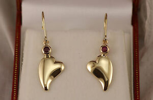 Heart-Dangle-Earrings-with-Bezel-Set-Rubys-Lever-Backs-Solid-14kt-Yellow-Gold