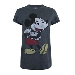 Disney-Mickey-Mouse-Women-039-s-Clothing-Ladies-Mickey-T-shirt-Vintage-Dark-Grey