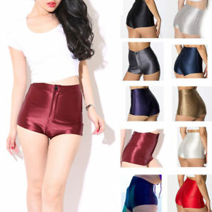 HIGH-WAISTED-WOMENS-LADIES-AMERICAN-SHINY-DISCO-STYLE-SHORTS-HOT-PANTS-FASHION
