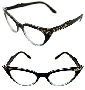 729e3c20f54c Women s small Cat Eye Vintage Clear Lens Eye Glasses Black Clear ...