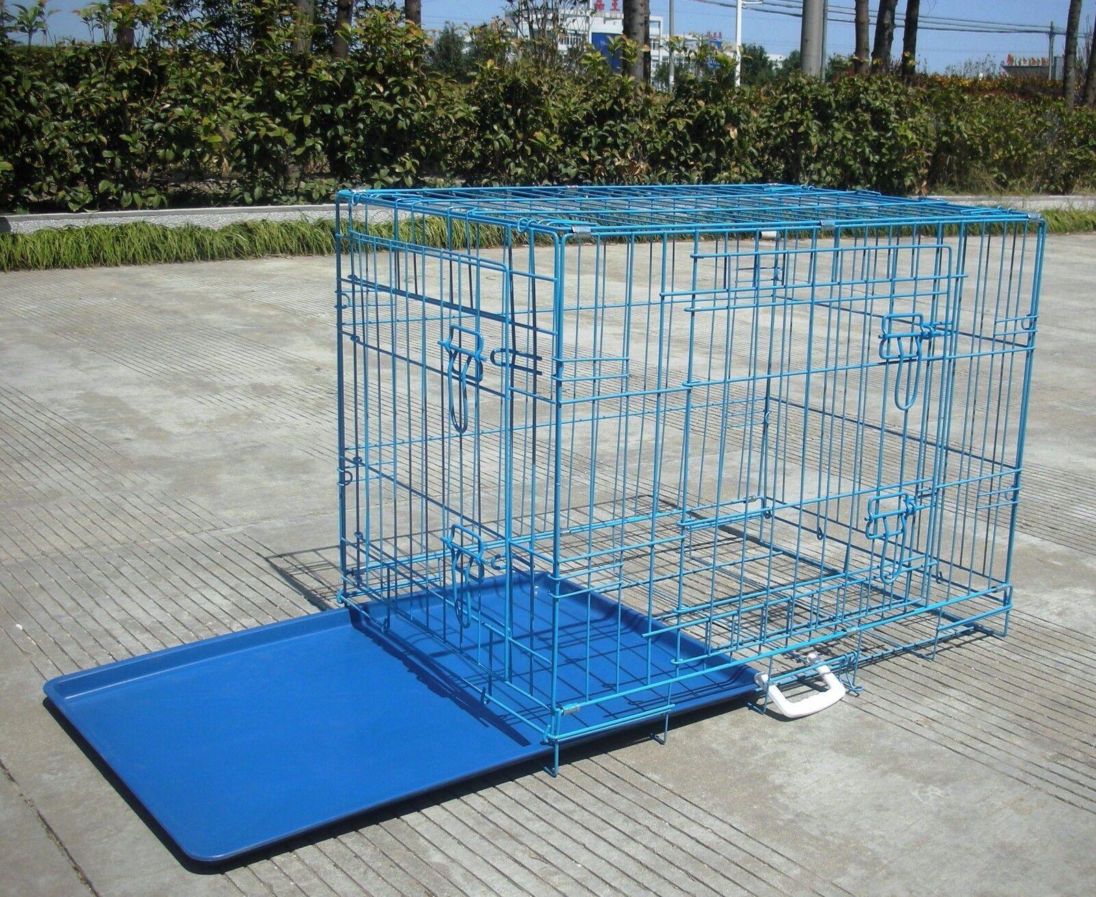 Blue 24 Pet Folding Suitcase 2 Doors Dog Cat Cage Kennel Pen wABS T