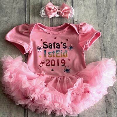 Ben Informato Multi Personalizzato 1st Eid 2019 Bambina Tutu Romper Vestito Ramadan Neonato Regalo-