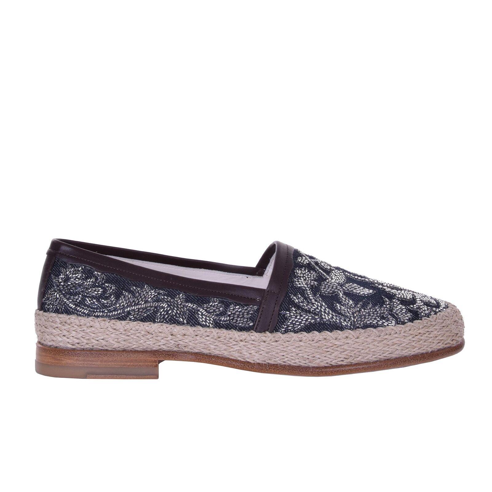 DOLCE & GABBANA Pearls Jeans Espadrilles Shoes PIANOSA Black Beige 06232