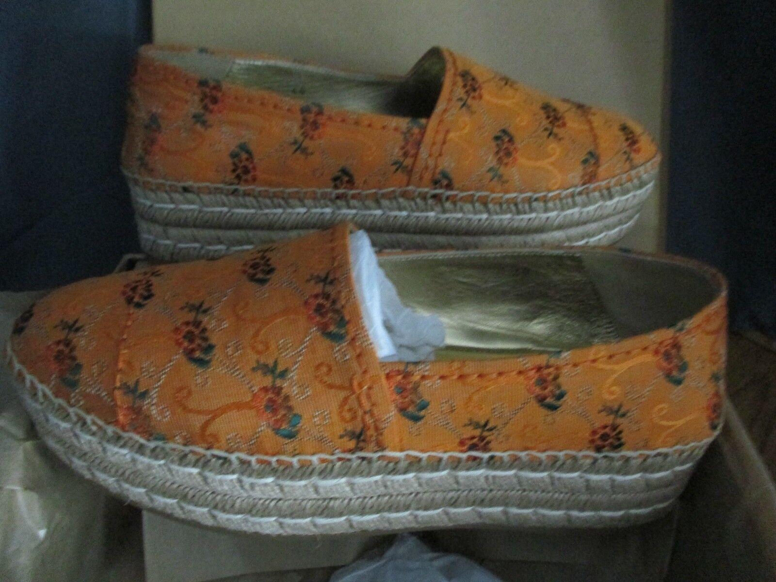 Prada Jacquard  Platform Espadrilles NWB Loafer Womens  orange floral size 40 NWB Espadrilles c6af31