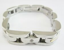 """8"""" STAINLESS STEEL & 14K YELLOW GOLD BRACELET WITH DIAMOND ACCENTS 65.3G"""