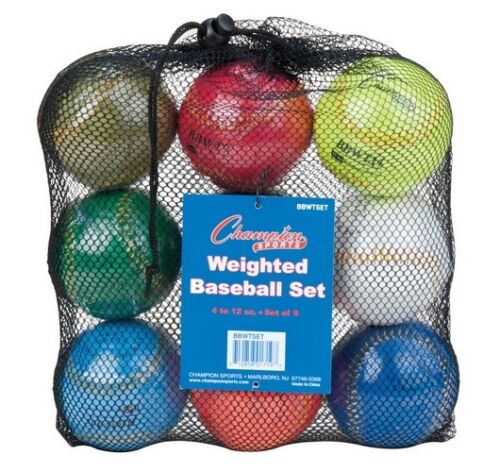 12oz Balls /& Mesh Bag New Champion Set of 9 Weighted Training Baseballs 4oz