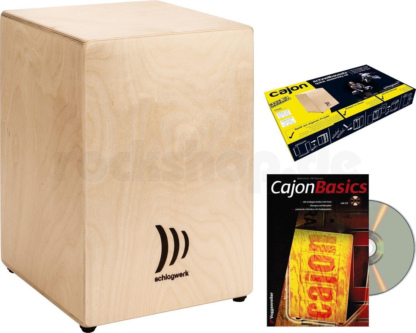 Schlagwerk My Cajon CBA1S Schnellbausatz Bausatz mit Lern Buch + CD + Spanngurt