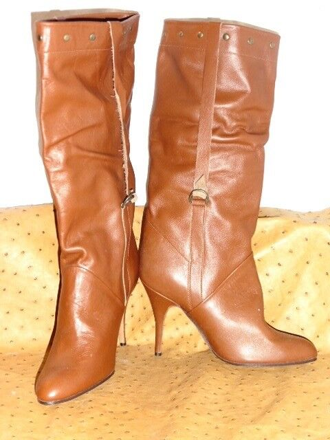 Superb boot leather boots brown astral katy monoblock vintage 80 new t.35