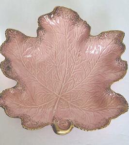 #381 \u2013 Ceramic Chip and Dip - Baby Shower Vintage 1960\u2019s USA Pottery \u2013 Leaf Shaped Divided Serving Bowl \u2013 Pink with Gold Speckling