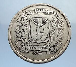 1937-DOMINICAN-REPUBLIC-Silver-Liberty-LIBERTO-Arms-Antique-Silver-Coin-i69899