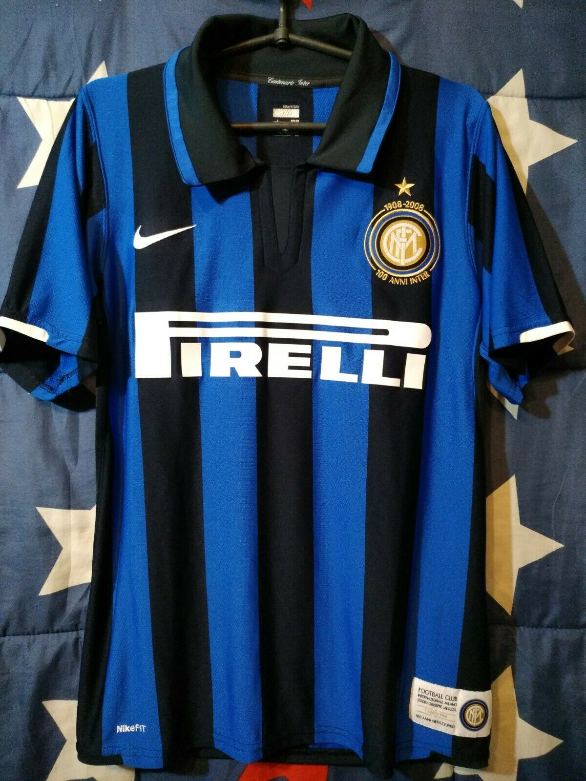SIZE S INTER MILAN INTERNAZIONALE ITALY 2007-2008 CENTENARY HOME FOOTBALL SHIRT