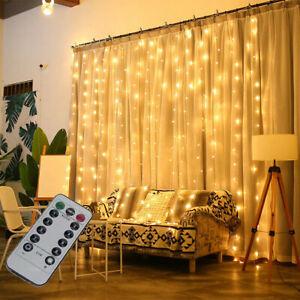 300-LED-Luces-Cuerda-Colgante-de-cortina-de-Hadas-Navidad-Boda-Fiesta-Casa-Decoracion