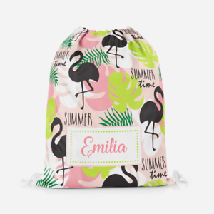 Personalised Flamingo Scenery Children/'s PE Swimming School Kids Drawstring Bag