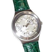 Swatch Irony Stainless Steel Sand Wind Green Leather Strap Swiss Wrist Watch