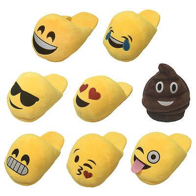 New Ladies Older Girls Emoji Emoticon 3D Slip On Stuffed Plush Slippers Size 5-7