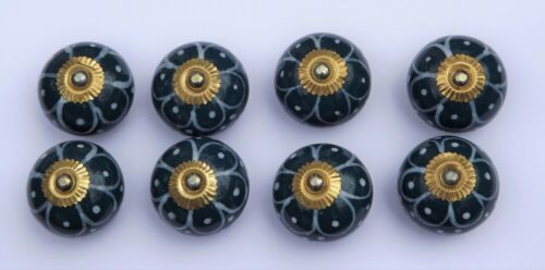 cupboard knobs pulls  Dark Aqua round White flower painted petals brass x 8