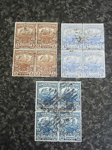 NEWFOUNDLAND-POSTAGE-STAMPS-SG132-134-amp-139-BLOCKS-OF-4-FINE-USED-amp-GOOD-USED