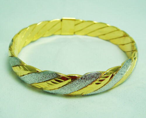 2 Tone 22K 23K 24K Thai Baht Yellow /& White Gold GP Bracelet Bangle BA19