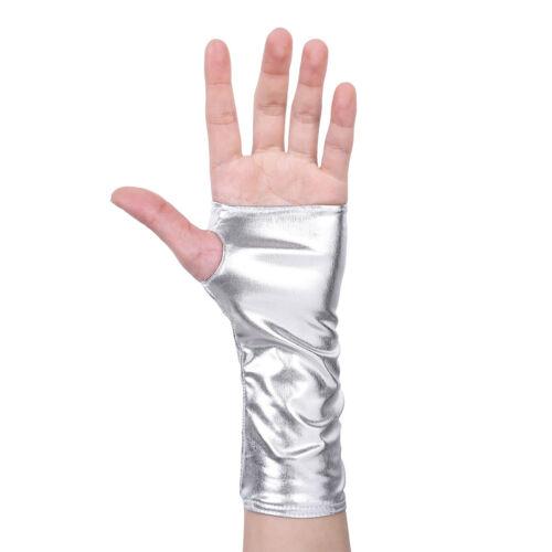 Damen Wetlook Lederhandschuhe Halbfinger Fingerlose Mini Handschuhe Fäustlinge