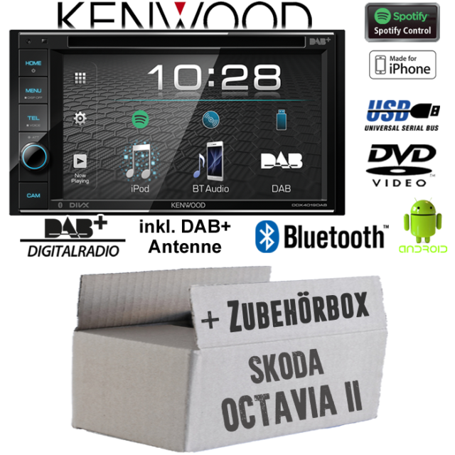 Kenwood Autoradio für Skoda Octavia 1 1U Bluetooth Spotify CD//MP3//USB Einbauset