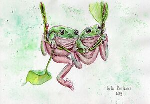 Frogs-On-A-Swing-original-watercolor-animal-painting-reptile-garden-art