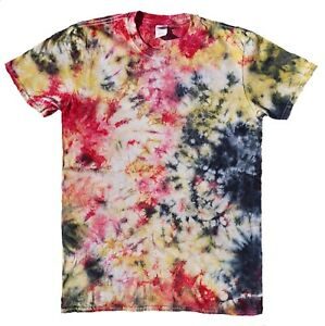 TIE-DYE-T-SHIRT-Yellow-Red-amp-Black-Tye-Die-Tshirt-Festival-Top-Tee-Rainbow