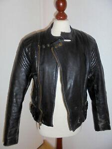 vintage-PROTECH-80s-Motorradjacke-Bikerjacke-Lederjacke-motorcycle-jacket-S
