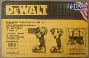 NEW DEWALT DCK280C2 20V Max Li-Ion 1.5Ah Compact Drill & Impact Driver Combo Kit