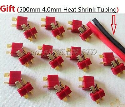20pcs T- Plug Male & Female Connectors Deans Style For RC ESC LiPo Battery Power