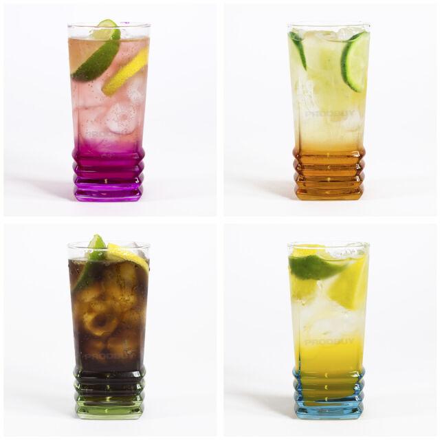 Set of 4 Elegance Hi-Ball Colour Glass Tumblers 33.5cl Modern Cold Drink Glasses