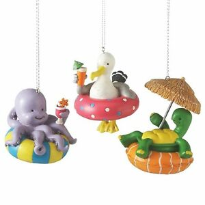 Turtle-Octopus-Seagull-Sea-Life-Pool-Set-of-3-Midwest-CBK-Christmas-Ornament-NEW
