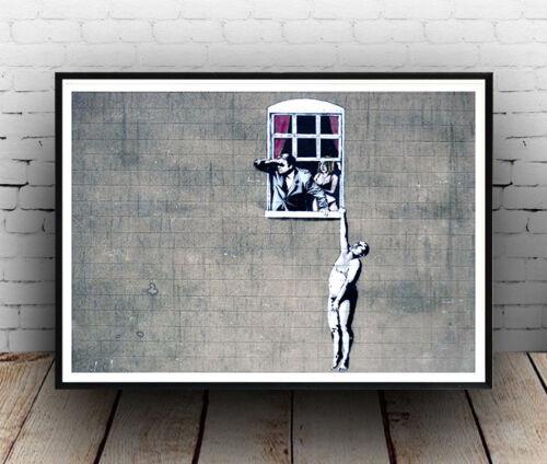 Banksy Window lovers street art Poster reproduction
