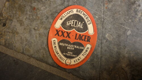 OLD AUSTRALIAN BEER LABEL, WILLIAMS BREWERY, 1940s SPECIAL LAGER, KENT TOWN