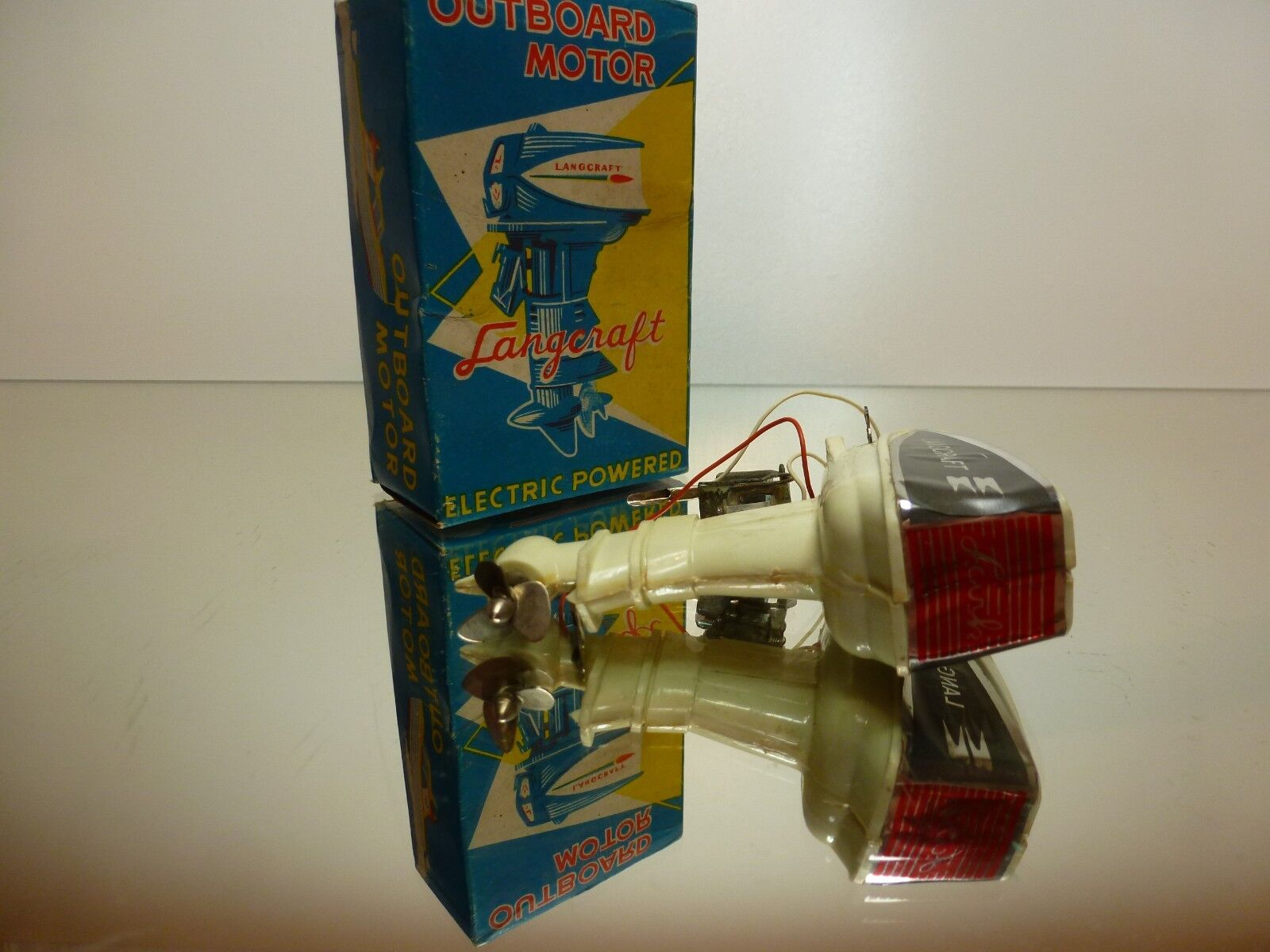 JAPAN LANGCRAFT OUTBOARD MOTOR MOTOR MOTOR - OFF WHITE H9.0cm - GOOD CONDITION IN BOX b55bc9