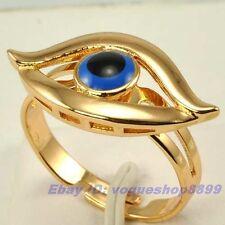 Size 7.5 Ring,ANGEL EYE REAL 18K ROSE GOLD GP SOLID FILL EVIL EYE Multi-size vp4