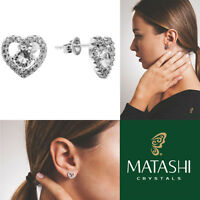 18k White Gold Plated Stud Earrings Crystal Centered Heart & Crystals By Matashi on sale