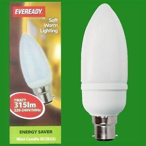 6x-7W-Basse-Energie-CFL-Mini-Ampoule-Type-Bougie-BC-B22