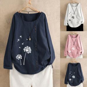 Plus-Size-Women-Casual-Loose-Button-Linen-Print-Boho-Tunic-T-Shirts-Blouse-Tops