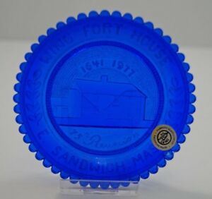 VINTAGE-WING-FORT-HOUSE-1641-1977-PAIRPOINT-CUP-PLATE-EAST-SANDWICH-COBALT-BLUE