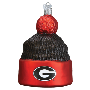 651573bc8cc Image is loading Georgia-Bulldogs-Beanie-Glass-Christmas-Ornament