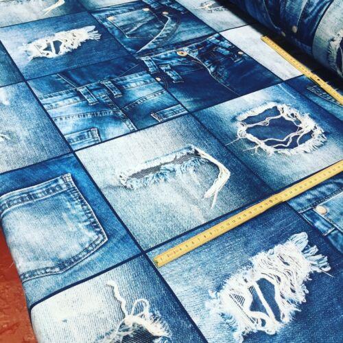 140cm Breit Blau Denim Jeans Effekt Stoff Vorhang Polster Baumwolle Material