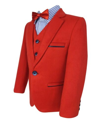 Designer Baby Boys Soft Suede Felt 4 Piece Red /& Blue Suit Set with Elbow Patch